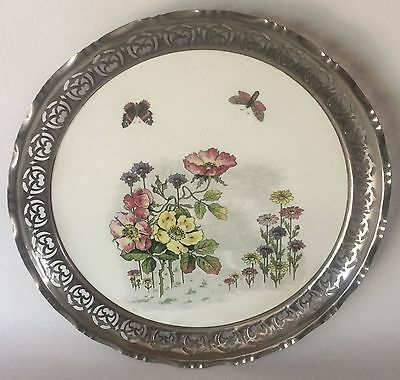 "Art Nouveau Ceramic Round TRAY Nickel Rim Flowers & Butterflies 13 1/2"" European"