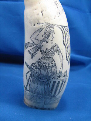 Faux Scrimshaw Tooth Patriotic Lady Liberty & Sail Warship A T Mogen