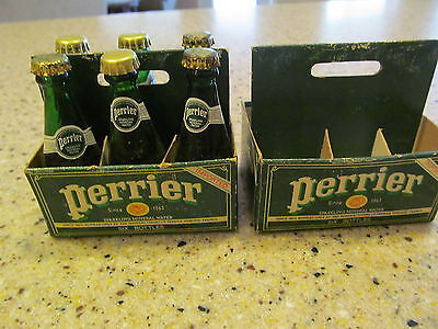 VTG Six Liquid Filled Miniature Glass Perrier Bottles + 2 Miniature Cartons