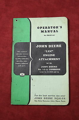 "John Deere ""LUC"" Engine Attachment Operator's Manual OM-H11-651"