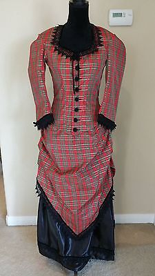 Victorian bustle dress in christmas plaid