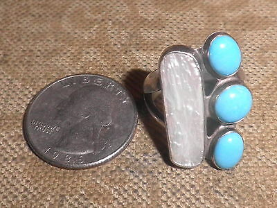 DTR JAY KING 925 Sterling Silver Turquoise Rng Mother of Pearl Size 8 FABULOUS!