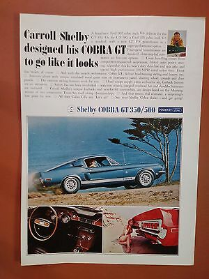 1968 Ford Shelby GT350 - GT500 Red & Blue Mustang Auto Car photo print ad