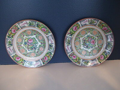 Chinese Export Pottery Set of 2 Plates Famille Rose Canton Medallion