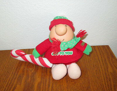 "ZIGGY Plush Christmas Doll w/ Candy Cane ""Joy To You"" American Greetings 7"" 1987"