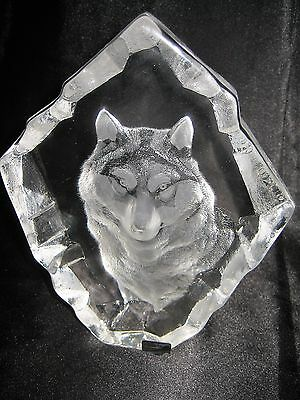 Mats Jonasson Wolf Etched Crystal Sculpture Paperweight Signed Sweden Beautiful