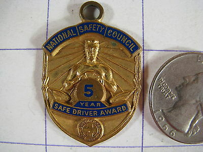 Vintage National Safety Council 5 Year Safe Driver Award Pendant