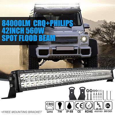 """42"""" 560W Curved LED Work Light Bar Spot Flood Combo Offroad Driving Truck SUV 44"""
