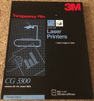 3M Transparency Film CG3300 for Laser Printers 47 Sheets Opened 8 1/2 X 11""