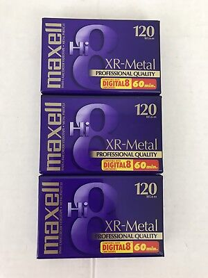 3 MAXELL Hi8 120 XR-METAL PROFESSIONAL QUALITY VIDEO CASSETTE NEW