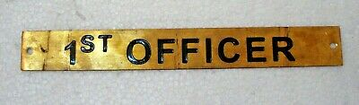 1ST OFFICER – Marine BRASS Door Sign -  Boat/Nautical - 8 x 1 Inches (2)