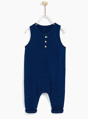 BNWT Zara Baby Boy Dungarees Romper With Pocket All In One Navy Blue 12-18