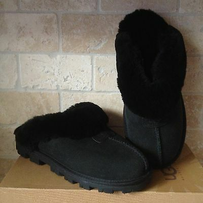 Ugg Coquette Black Suede Sheepskin Slippers Shoes Us 9 Womens 5125
