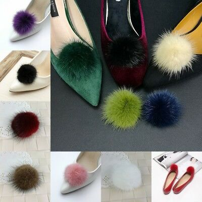 Women Shoe Charms Clips Mink Fur Pom Fluffy Boots 1 Pair Black White 11 Colors