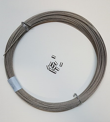 "304 Stainless Steel Wire Rope Cable, 1/16"", 7x7, 100 ft coil & SS Sleeves Qty 10"