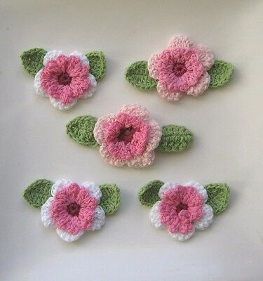 Set Of 10 X Beautiful Crochet Flowers With Leaves (2 X 5 Lots). Free Postage.