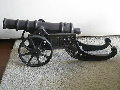 Old Collectable Large very Heavy Cast iron Cannon marking big ((S))