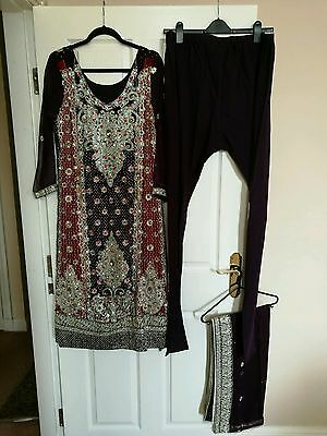 Indian Pakistani Party Wedding Suit Purple and Red Dress with heavy crystal work