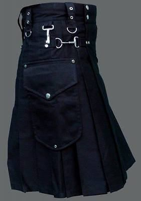 Scottish Black utility kilt Handmade Custom Unisex Adult  Kilt With Big Pockets