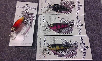 "4 x 60mm Smithys ""yobbo's"" diving lures. great for yellowbelly, bass, redfin"