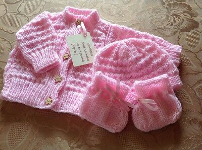 Newborn/Reborn Baby. Hand Knitted Cardigan, Hat and Bootees. Pink.
