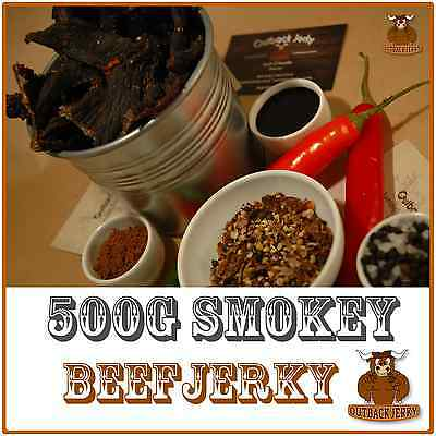 BEEF JERKY SMOKEY 500G Hi PROTEIN LOW CARBOHYDRATE PRESERVATIVE FREE SNACK