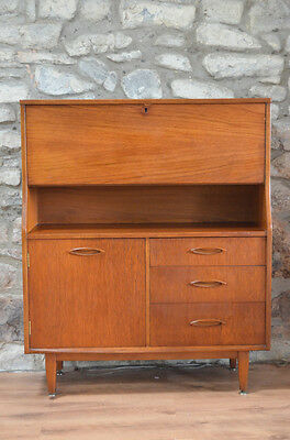 Mid-Century Modern Jentique Hardwood  Fold-down Bureau with key. Ercol G-plan