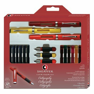 Sheaffer Calligraphy Maxi Kit, 3 Viewpoint Fountain Pens with 3 Nib Grades, of