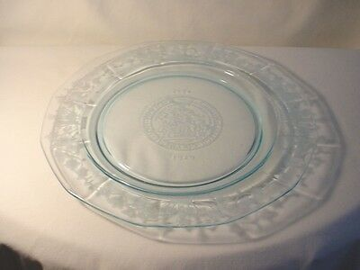 1929 Blue Fostoria Glass COLUMBIA COLLEGE PLATE 1754-1929 *175 Year Anniversary