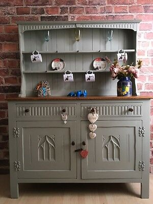 Unique Shabby Chic Oak Farmhouse Welsh Dresser  Cabinet Cupboard Delivery Aval