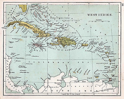 Map of West Indies 1906  Print  10 X 8