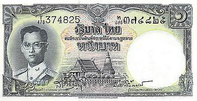 Thailand  1 Baht  ND.1955  P 74d  Series T/470  Sign. # 41 Uncirculated Banknote