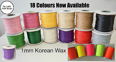 5m 10m 1mm Round Korean Wax Cotton Cord You Choose Colour Coloured String Metres