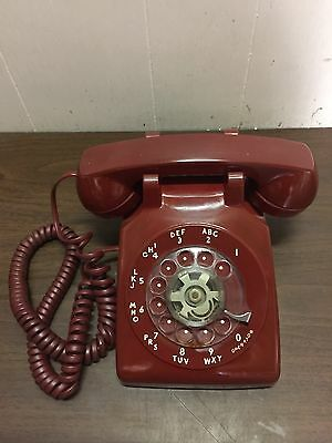VINTAGE RED WESTERN ELECTRIC ROTARY PHONE / TELEPHONE Orange Blue Green Yellow