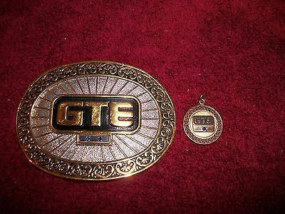 VIntage GTE Telephone service employee belt buckle with 2 Sapphires & pendent.