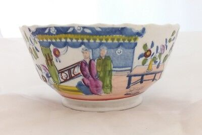 Antique Chinese Japanese? Clobbered Overpainted Blue & White Porcelain Bowl