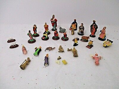 "Vintage LOT OF 31 MINI CHRISTMAS NATIVITY FIGURES 1/8"" TO 2 1/2"" TALL-HONG KONG"