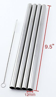 "4 Stainless Steel Straws Big Straw Extra Wide 1/2"" x 9.5"" Long Thick FAT - Brand"