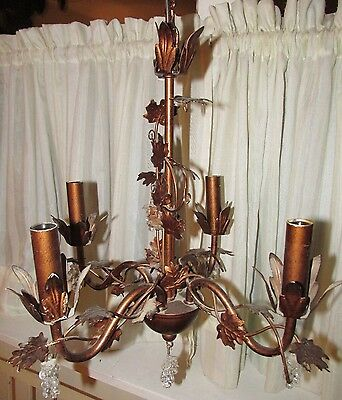 Petite 4 Arm Metal CHANDELIER Copper Color Leaves Clear Grape Cluster Prisms