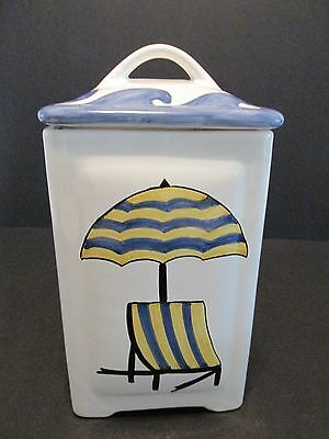 CANISTER Hand Painted Portugal Pottery Blue & Yellow Stripe Beach Chair Umbrella