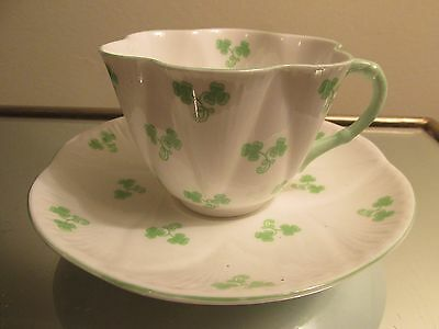 Vintage SHELLEY SHAMROCK CUP & SAUCER English Bone China 14114 Green Trim