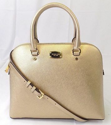 a817abd4f115de Michael Michael Kors Cindy Large Dome Pale Gold Saffiano Leather Satchel Bag