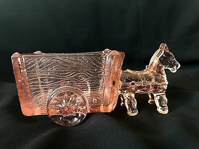 Vintage Pink Glass Donkey and Cart Candy Container, Depression Era NR