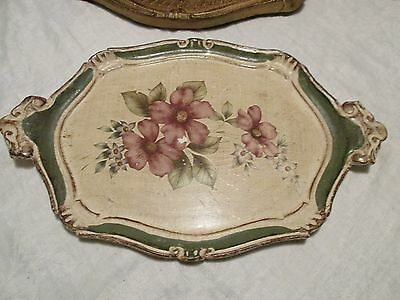 Vintage Cream Green Painted Wood Tole RococoTray Lilac Dog Roses Italy Handles