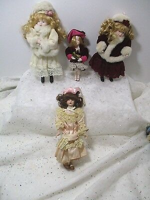 4 VINTAGE Kurt Adler? Doll ornaments Victorian Looking