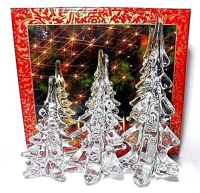 "Set of 3 Vtg Home for the Holidays Clear Art Glass Christmas Trees 5"", 6"" & 8"""