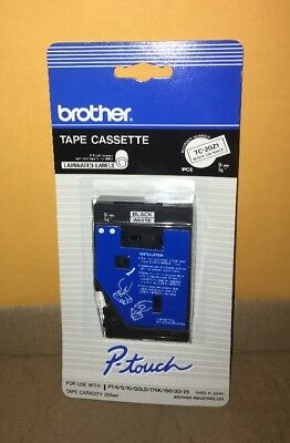 "New Brother TC-20Z1 3/8"" Black on White P-touch Label Tape 9mm 25 Feet Sealed"