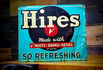 Hires Root Beer Soda Pop Gas Station Metal Advertising Sign Roots Barks Herbs
