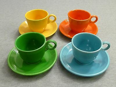 Fiesta Vintage Lot of 4 1960's Tea Cup & Saucer Set - Includes Medium Green