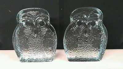 1960's Heavy Blenko Clear Glass Owl Bookends-Excellent Shape